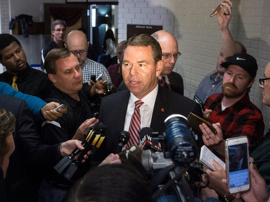 U of L interim Athletic Director Vince Tyra was surrounded by media following a board meeting on Wednesday afternoon that saw the official firing of his predecessor Tom Jurich.  Oct. 18, 2017