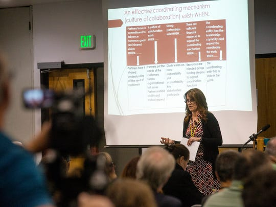 Cheryal Lee Hills of the Region 5 Development Commission in Minnesota delivers a presentation Wednesday at the Four Corners Future Forum at San Juan College in Farmington.