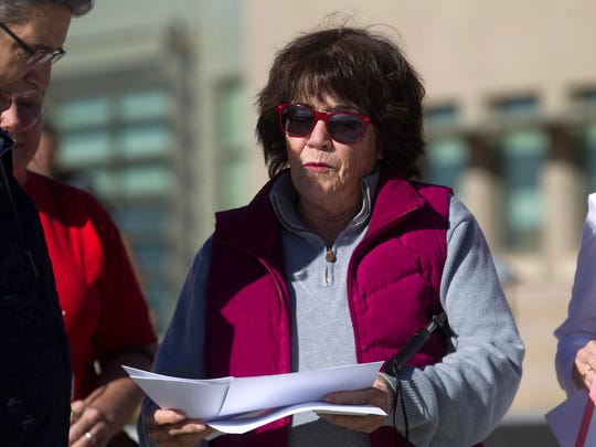 Aztec City Commissioner Katee McClure, seen here delivering  public comments to the Bureau of Land Management Farmington field office in Novemvber of 2017, is opposed to the Trump Administration's proposal to rewrite the methane and waste prevention rule.