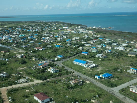 Samaritan's Purse tarps and Hydrovolt reverse osmosis water access point on Barbuda