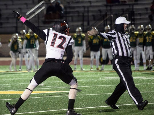 PRP's Raymeco Mucker celebrates after the defense recovers a fumble against St. X on Friday night. 11/10/17