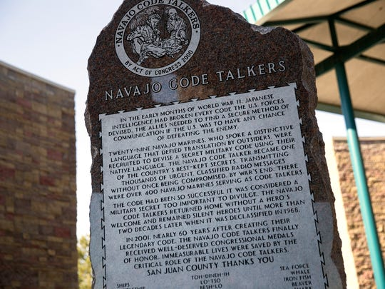 A memorial dedicated to the Navajo Code Talkers was unveiled on Friday, Nov. 10, 2017 during a ceremony at the San Juan County Administration Offices in Aztec.