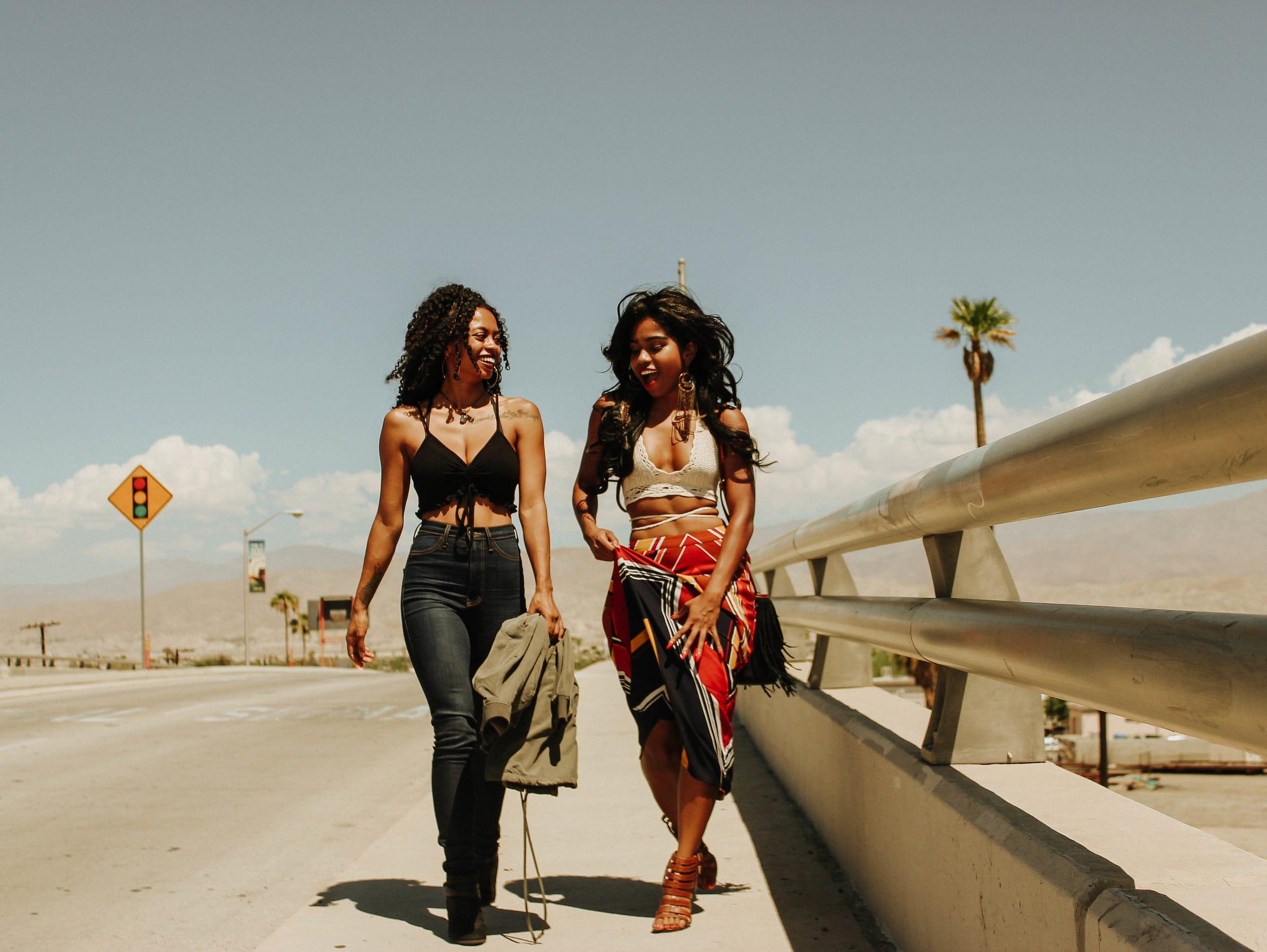On Porsia (left): Fashion Nova top and jeans, City