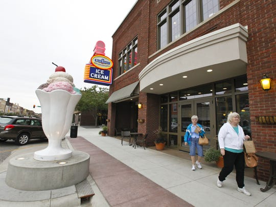 The Blue Bunny Ice Cream Parlor in downtown Le Mars has been completely renovated and is now called Wells Visitor Center and Ice Cream Parlor. The space now features a rooftop patio, a new ice cream menu and interactive exhibits showcasing Wells' history.  (David Purdy/The Des Moines Register)