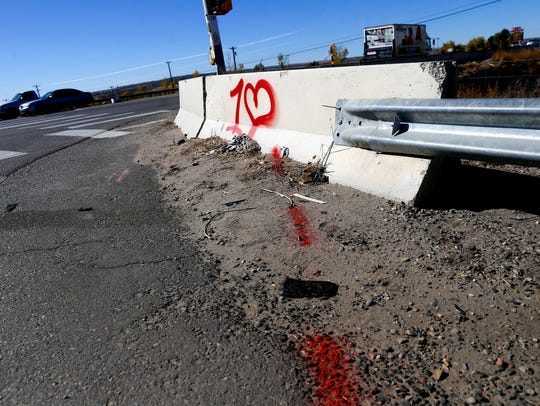 This barrier at the intersection of County Road 250 and U.S. Highway 64 is one of the many sites in San Juan County where Delbert Gus allegedly spray painted graffiti.
