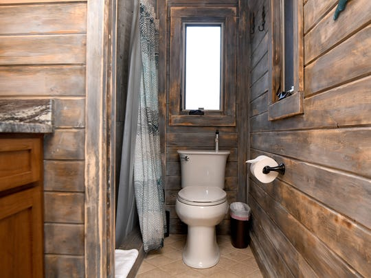 When the Serenity Treehouse was featured on HGTV several people were concerned about the bathroom and how the plumbing works. The house has a full bathroom with shower, running water and a flushing toilet like any other house.
