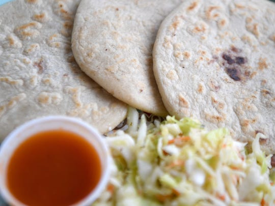 The pupusas at Pupuseria Patty Restaurant can be filled with cheese, bean and cheese or corn and cheese.
