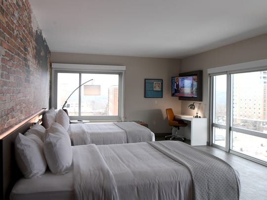 A guest room in the Cambria Hotel on Tuesday, Jan. 9, 2018. The hotel opened to guests in mid-December.