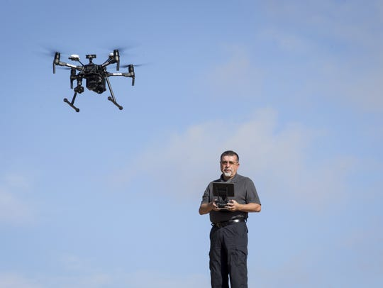 John Nunes pilots his drone, January 10, 2018, at Kiwanis