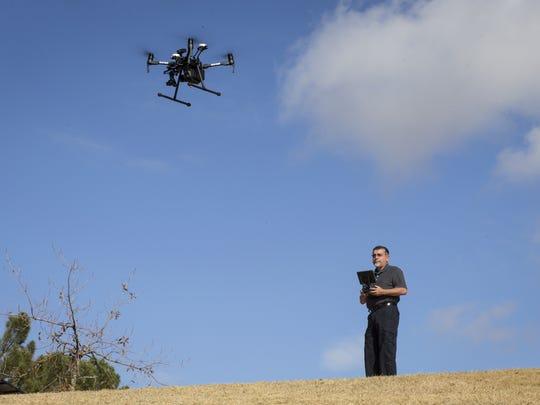 John Nunes pilots his drone, January 10, 2018, at Kiwanis