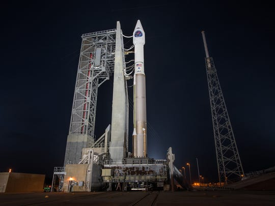 January 2018: A United Launch Alliance Atlas V rocket stands on Launch Complex 41 at Cape Canaveral Air Force Station with the Air Force's SBIRS GEO Flight 4 missile warning satellite.