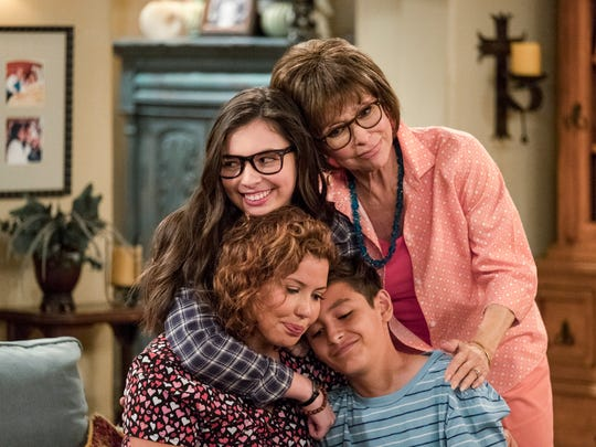 Justina Machado, lower left, stars in Netflix's 'One Day at a Time,' with, clockwise, Isabella Gomez, Rita Moreno and Marcel Ruiz.