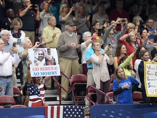 In this February 2018 photo, fans at the U.S. Cellular Center watch as Venus Williams defeats the Netherlands' Richel Hogenkamp, clinching a win for the United States in the first round of the 2018 Fed Cup. Asheville again is hosting the event this year.