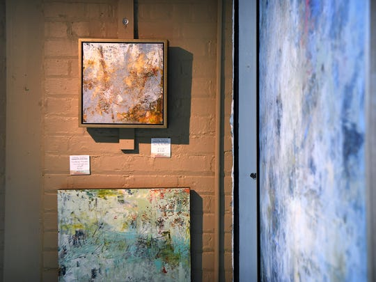 Finished pieces hang in Cindy Walton's gallery in The