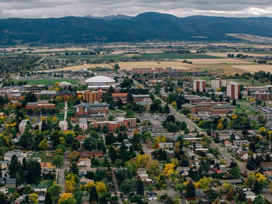 Aerial view of Montana State University, Bobcat Stadium, Brick Breeden Fieldhouse and the surrounding community of Bozeman, seen on Saturday, Sept. 24, 2016.