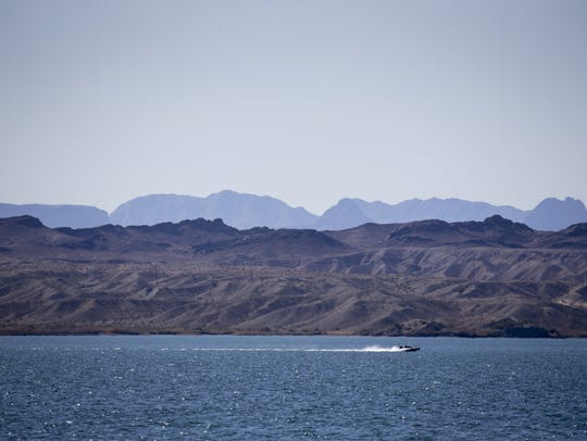 A boat speeds across Lake Havasu, Febuary 8, 2018,