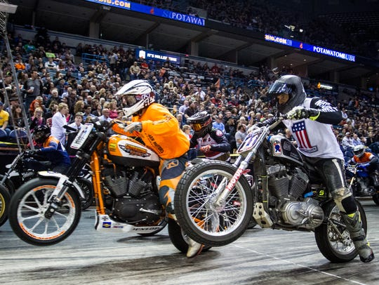 Flat Out Friday, a race on a surface coated with Dr Pepper, is part of the 115th Harley anniversary celebration. This edition is at the UW-Milwaukee Panther Arena on Aug. 31.