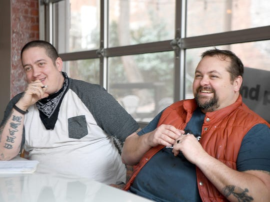 Steve Goff, formerly of King James Public House, left, and Mike Moore, of the Blind Pig Supper Club and formerly of Seven Sows Bourbon and Larder, talk about their new restaurant, Aux Bar, scheduled to open on Thursday.