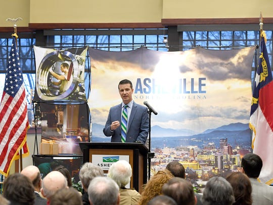 Michael Meguiar, GE Aviation's Asheville plant leader, speaks during an announcement at the Asheville Chamber of Commerce that GE Aviation will be investing $105 million into its Asheville operations, creating 131 jobs on Thursday, March 1, 2018.