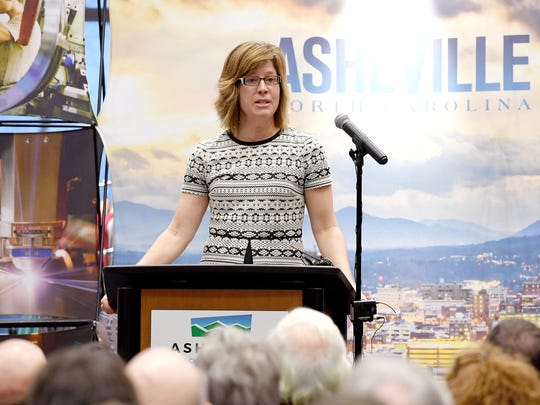 Asheville mayor Esther Manheimer speaks during an announcement at the Asheville Chamber of Commerce that GE Aviation will be investing $105 million into its Asheville operations, creating 131 jobs on Thursday, March 1, 2018.