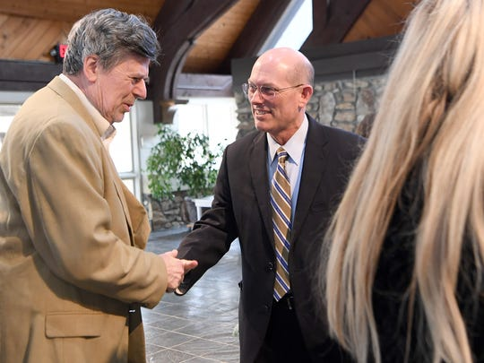 "John Anthony ""Tony"" Floyd meets members of the crowd after being announced as the new president of Mars Hill University during a ceremony at the Broyhill Chapel on campus on Friday, March 9, 2018. Floyd will replace current president Dan G. Lunsford following his retirement starting on June 1 as the sixth president of the university since 1897."