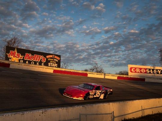 13-year-old race car driver Jake Garcia heads around