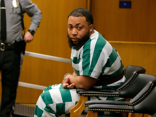 Sevon Hill, charged in the murder in Toms River of Steven Stallworth, appears for his detention hearing before Judge Wendel E. Daniels at the Ocean County Justice Complex in Toms River, NJ Friday, March 16, 2018.
