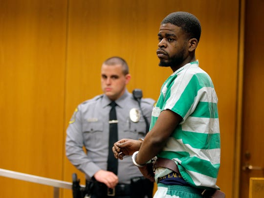 Shakar Barksdale, charged in the murder in Toms River of Steven Stallworth, appears for his detention hearing before Judge Wendel E. Daniels at the Ocean County Justice Complex in Toms River, NJ Friday, March 16, 2018. His hearing was adjourned until next week.