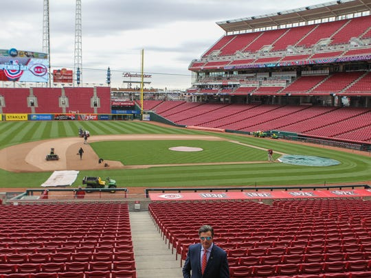 Reds COO Phil Castellini walks local media around, showing new features at Great American Ball Park. A new net has been installed to extend safety to more viewers. The net is also much thinner, allowing a better viewing experience than before.