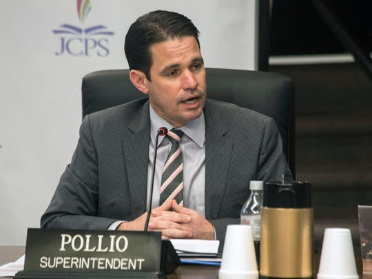 JCPS Superintendent Marty Pollio at a March 2018 board meeting.
