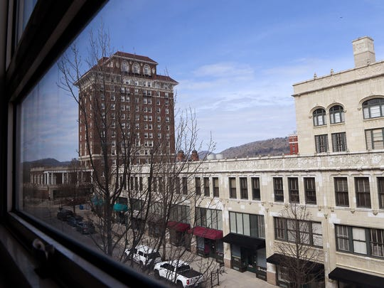 A view of the Grove Arcade from the third floor of the Asheville Citizen Times building at 14 O Henry Avenue downtown.