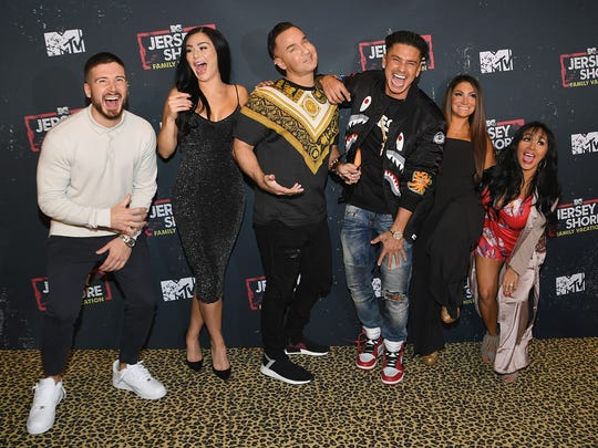 Yep, the gang's all here! Television personalities Vinny Guadagnino, Jenni 'JWoww' Farley, Mike 'The Situation' Sorrentino, Paul 'Pauly D' DelVecchio, Deena Cortese and Nicole 'Snooki' Polizzi attend MTV's 'Jersey Shore Family Vacation' premiere party, Wednesday.