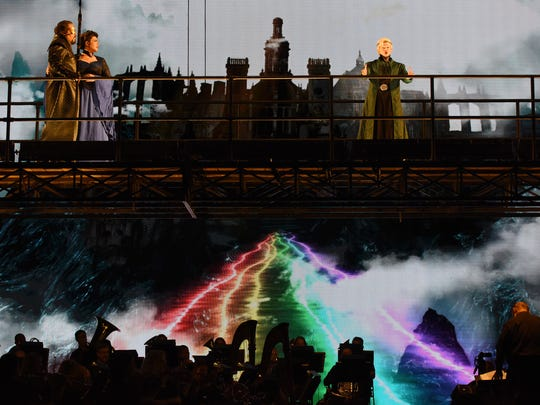 "The bridge to Valhalla in Arizona Opera's ""Das Rheingold."""