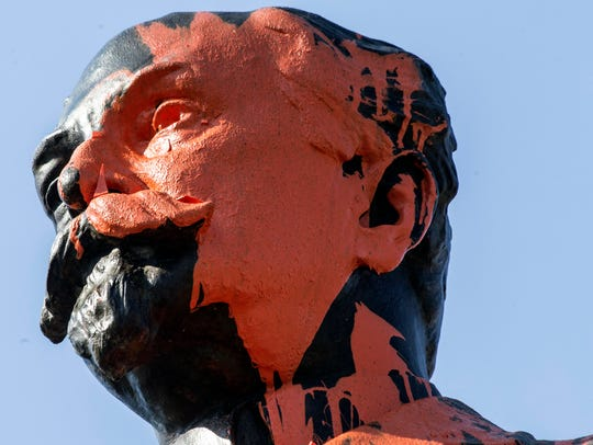 The face of the John Castleman statue seemed to have
