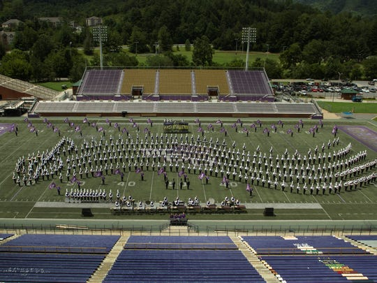 The Pride of the Mountains, WCU's marching band, practices