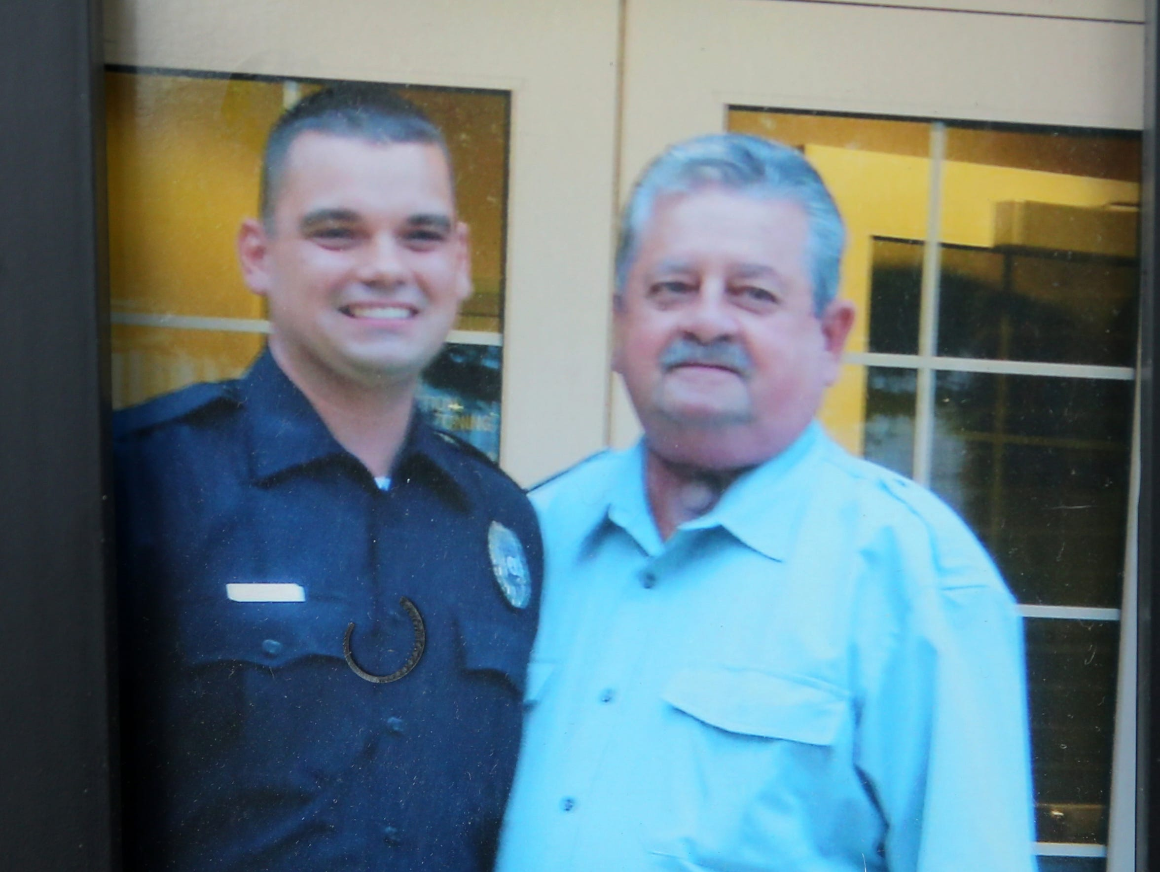 Joseph Wenskoski with his father, retired Edison Police Officer Richie Wenskoski.