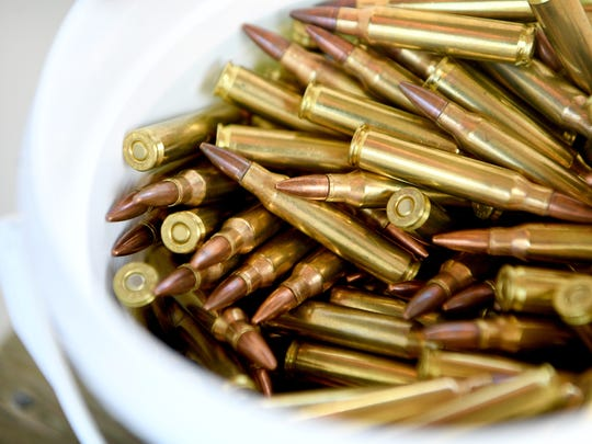 A bucket of ammunition for an AR-15 at the Wayne E. Smith Cold Mountain Shooting Range in Haywood County on Friday, April 27, 2018.