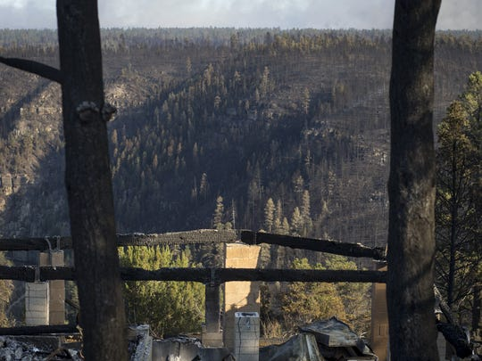 A structure destroyed by the Tinder Fire pictured on