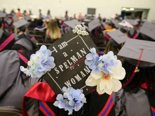 Kaiya Jones, 18, of Neptune, a Poseidon Early College High School student, shows off her decorated cap before the Brookdale Community College graduation ceremony inside Robert J. Collins Arena at Brookdale Community College in Lincroft, NJ Thursday May 10, 2018.