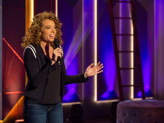 """Michelle Wolf, seen in a test show for her new weekly Netflix comedy series, """"The Break With Michelle Wolf."""""""
