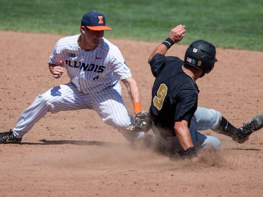 Nick Dalesandro  steals second base, one of two steals