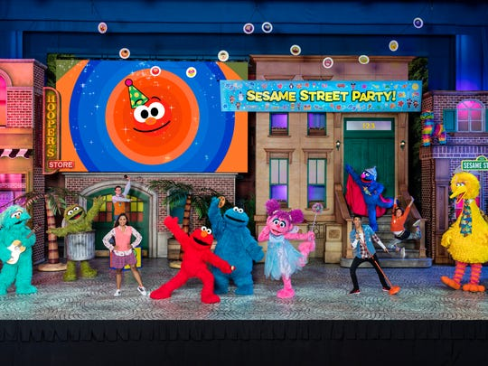 The Sesame Street gang gearing up for the party at Sesame Street Live! Let's Party!