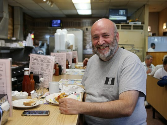 "David O'Rourke of Oceanport dines at Frank's Deli on June 8 to honor the memory of Anthony Bourdain. Bourdain visited the Asbury Park deli for a 2015 episode of ""Parts Unknown."""