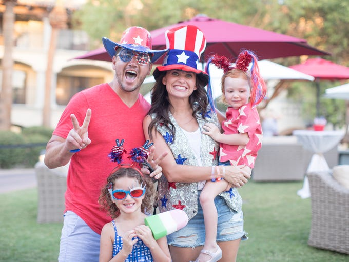 Family members suit up in their best red, white and