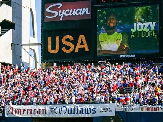 U.S. soccer fan club American Outlaws at Qualcomm Stadium