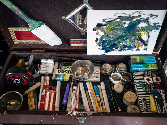 Art supplies can be found in practically every nook of Margaret Archambault's studio space at the new Tim Faulkner Gallery. 7/6/18