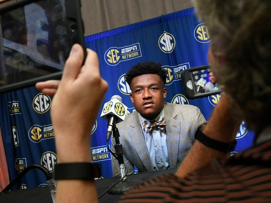 NCAA college football defensive lineman D.J. Wonnum of South Carolina is interviewed during the Southeastern Conference Media Days at the College Football Hall of Fame in Atlanta, Thursday, July 19, 2018. (AP Photo/John Amis)