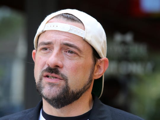 Kevin Smith is interviewed by Felecia Wellington Radel and Alex Biese, both Asbury Park Press Fan Theory hosts, during Vulgarthon at Bow Tie Cinema in Red Bank, NJ Thursday August 2, 2018.