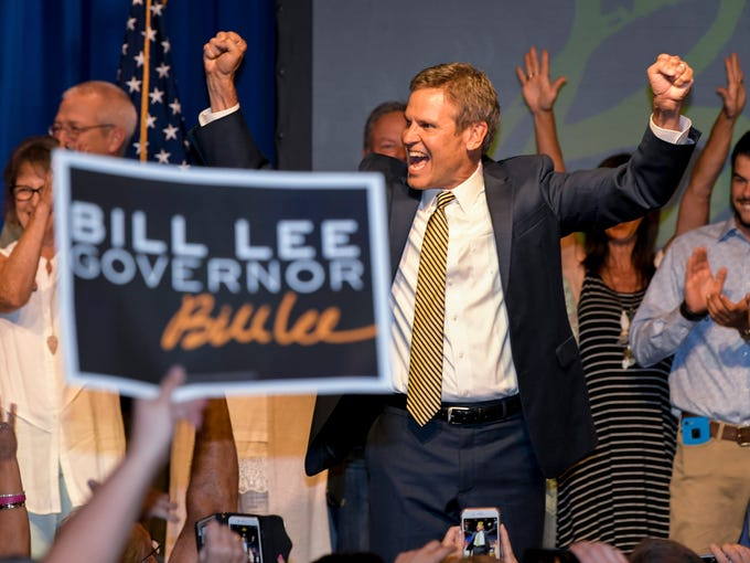 Bill Lee celebrates with supporters at his watch party