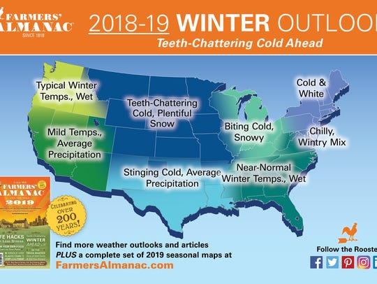 Winter forecast map from the Farmers' Almanac.